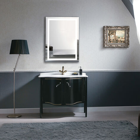 OOBEST® Illuminated Mirror Cold White Tempered Glass 6000K Bathroom 100 x 60 CM