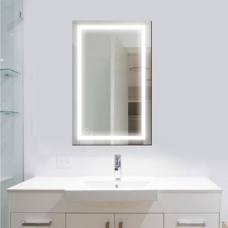 OOBEST® Miroir Lumineux Verre Trempé Blanc Froid 6000K salle de bain 100 x 60 CM