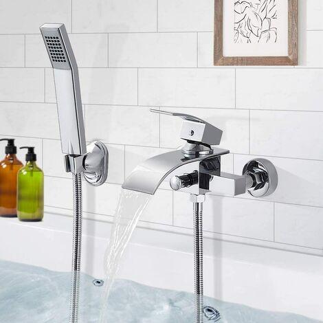 OOBEST® Mitigeur Bain Robinet de Baignoire Cascade avec Pommeau de douche Economie d'eau Laiton Chrome pour Salle de bain
