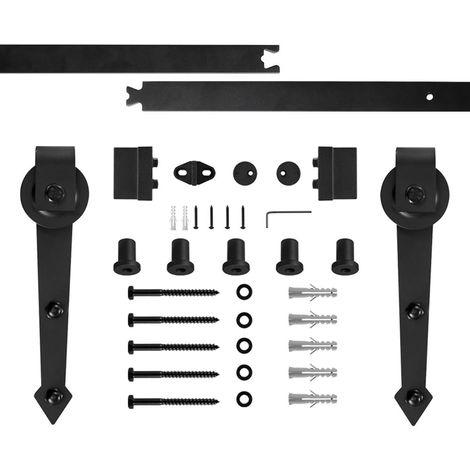 OOBEST® Système De Porte Kit de Rail pour Porte Coulissante en Acier Noir 180 cm Largeur Maximale 90 cm