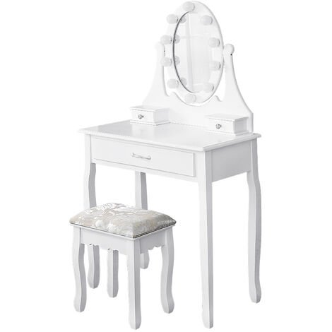 OOBEST® Vanity Makeup Table with Illuminated Mirror 3 Drawers and 1 Stool 75 x 40 x 139 CM White