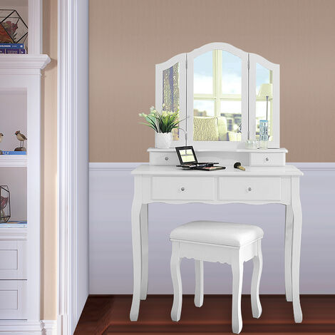 OOBEST® White Dressing Table, Makeup Table with 4 Drawers, 3 Mirrors 90 * 40 * 142cm