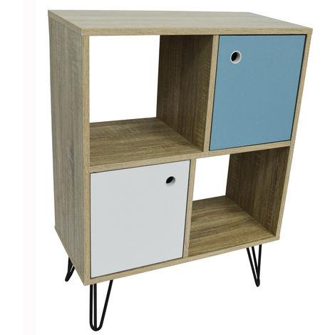 Open Sideboard Shelving / LP Vinyl Storage with Cupboards - Oak