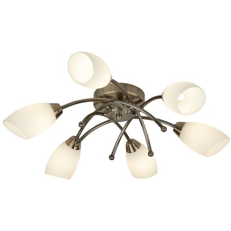 OPERA 6 LIGHT ANTIQUE BRASS FLUSH WITH OPAL GLASS