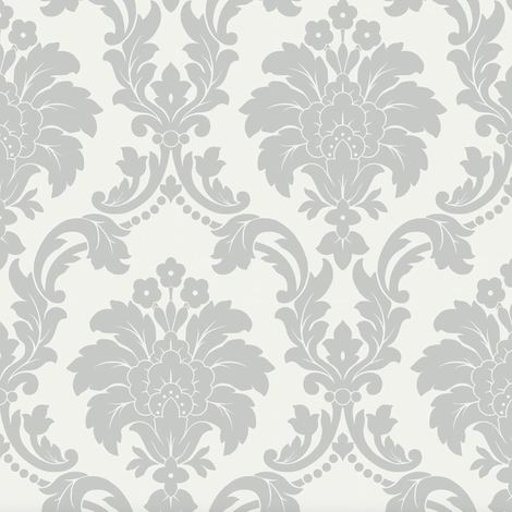 Opera Romeo Damask Feature Wallpaper Arthouse Grey White Heavy Weight Shimmer