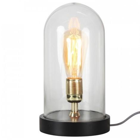 Opjet 011651 - Lampe cloche Ø16x28cm - 1 douille laiton - verre et bois noir