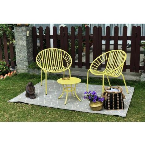 OPOA Salon de jardin 2 places - 2 fauteuils et une table basse en métal - Jaune