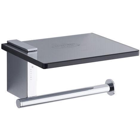"""main image of """"Optima Cube Way Porte papier toilette Chrome avec tablette en verre trempé Noir (HolderOptima)"""""""