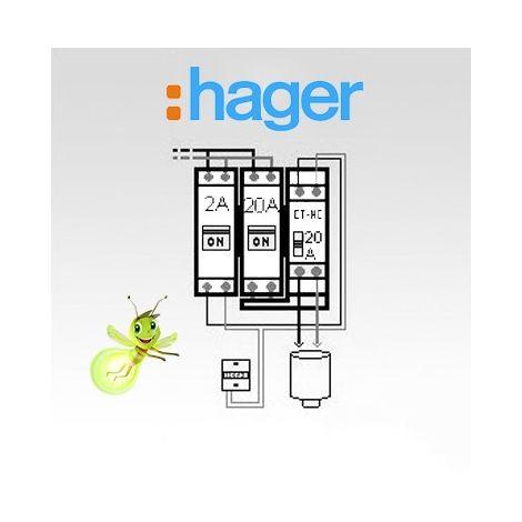 Option chauffe-eau électrique pour tableau Hager complet