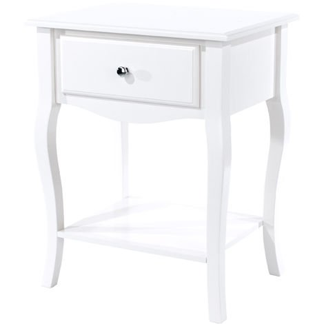 Options White Painted Cabriole, 1 Drawer Bedside Cabinet