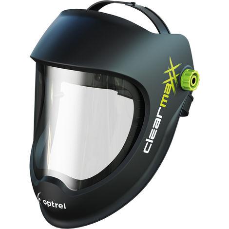 Optrel Clearmaxx casco para lijar casco de protección protección facial gafas protectoras máscara de protección muy ligero con campo visual extra grande XXL, muy cómodo gracias a la cinta tapizada