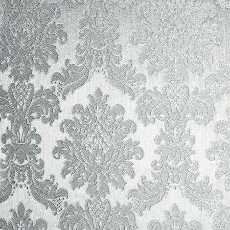 Opulence Silver Wallpaper Arthouse Metallic Foil Damask Textured Vinyl Embossed