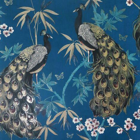 Opulent Peacock Wallpaper Arthouse Teal Gold Blue Glitter Floral Textured