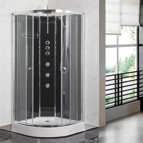 Opus 01 800mm iLock Quadrant Shower Cabin Carbon Black