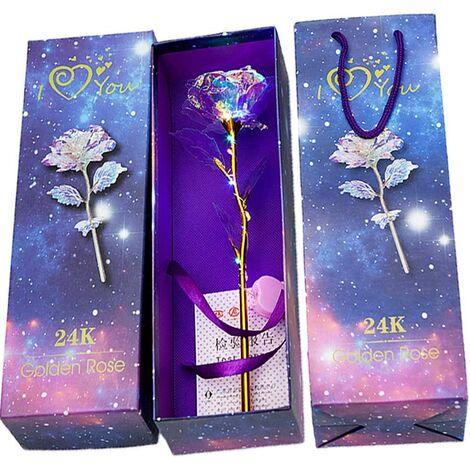 Or Rose Artificielle Eternelle Plaqué Fleur, 24K Plaqué Or Rose, Fleurs Artificielles Rose Lumineux Coloré, pour la Saint Valentin la Fête d'anniversaire la Fête des Mère
