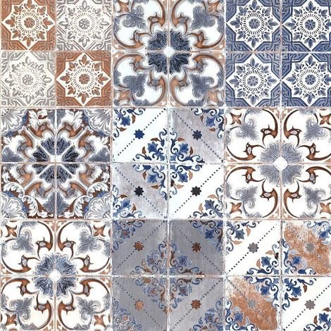 Orange Blue Valencia Tile Wallpaper Moroccan Mediterranean Geometric Debona