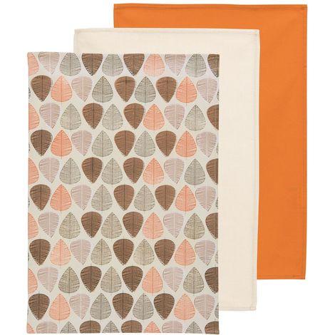 Orange Leaf Set of 3 Tea Towels,100% Cotton