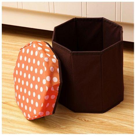 Orange Tabouret de rangement pliant multifonctionnel de ménage