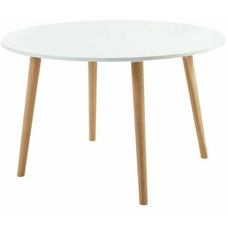 ORATELLO Table a manger de 4 a 6 personnes scandinave laquée blanc mat - L 120 x l 120 cm