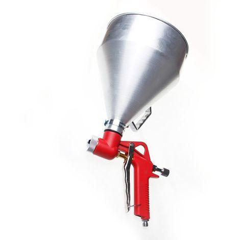 ORAZIO Hopper Feed Exterior 1-1/2 Gallon Texture Paint Spray Gun Aluminum Cup