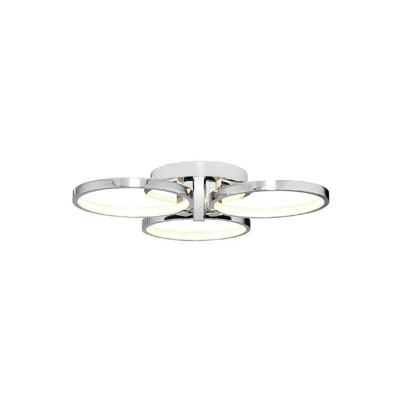 Homemania - Orbis Deckenlampe - Deckenleuchte - Runde - von Wall - Chrom aus Metall, Acryl, 56 x 56 x 12 cm, 1 x LED, 45W, 4725LM, 4200K