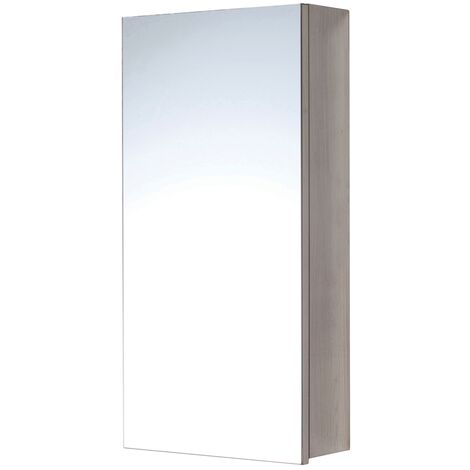 Orbit 1-Door Mirrored Bathroom Cabinet 600mm H x 300mm W - Stainless Steel