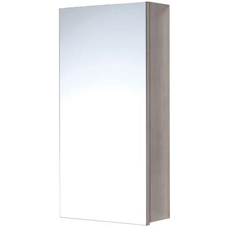 Orbit 1-Door Mirrored Bathroom Cabinet 600mm H x 300mm W - Stainless Steel