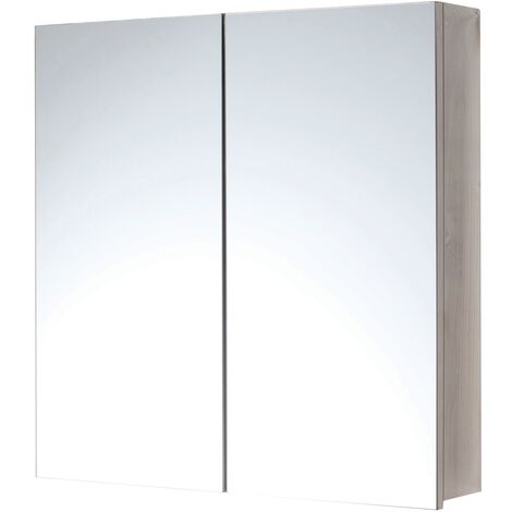 Orbit 2-Door Mirrored Bathroom Cabinet 600mm H x 600mm W - Stainless Steel