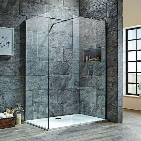 Orbit 8mm Walk-In Shower Enclosure 1200mm x 800mm (700mm+800mm Clear Glass)
