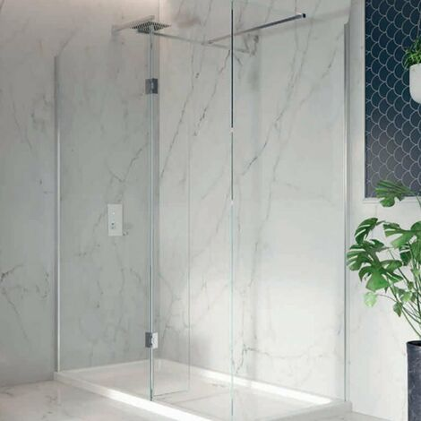 Orbit 8mm Walk-In Shower Enclosure with Flipper Panel 1200mm x 900mm (700mm+900mm Clear Glass)