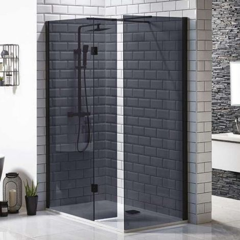 Orbit 8mm Walk-In Shower Enclosure with Flipper Panel 1400mm x 900mm (800mm+900mm Black Glass)