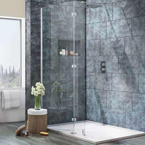 Orbit 8mm Wet Room Glass Panel 900mm Wide with Walkaround Feet