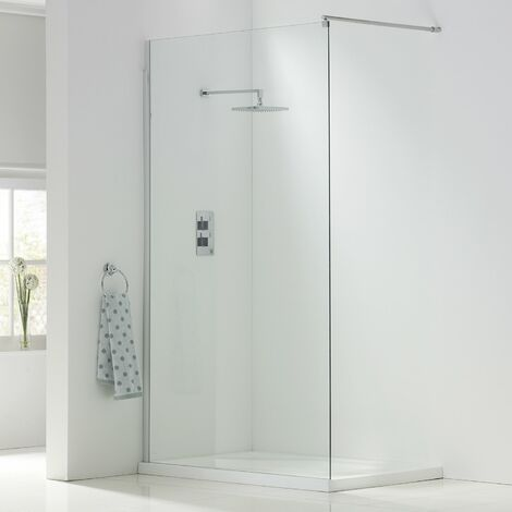 Orbit A8 Wet Room Glass Panel 760mm Wide - 8mm Clear Glass