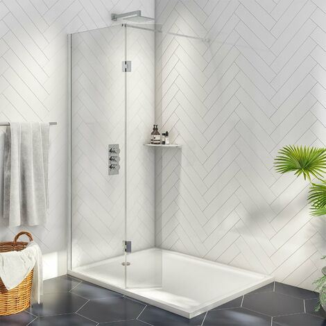 Orbit A8 Wet Room Glass with Deflector Panel (800mm + 275mm) Wide - 8mm Clear Glass