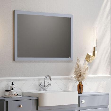 "main image of ""Orbit Classica Traditional Bathroom Mirror 900mm H x 600mm W - Stone Grey"""