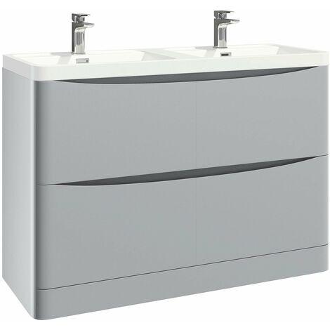 Orbit Contour Floor Standing 2-Drawer Vanity Unit with Double Basin 1200mm Wide - Pebble Grey