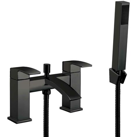 Orbit Distro Bath Shower Mixer Tap Deck Mounted with Kit and Wall Bracket - Matt Black