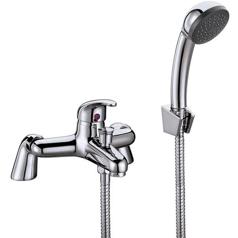 Orbit Entry Bath Shower Mixer Tap Deck Mounted with Shower Kit and Wall Bracket - Chrome