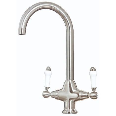 "main image of ""Orbit Harrogate Kitchen Sink Mixer Tap Dual Handle - Brushed Nickel"""
