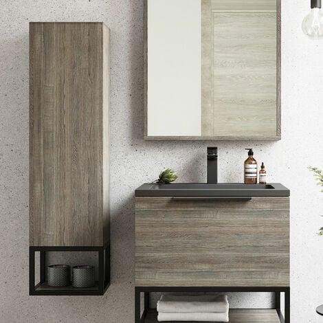 Orbit Illumo Wall Hung Tall Boy Storage Unit 300mm Wide - Grey Oak