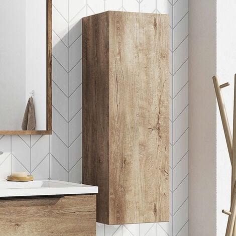 Orbit Illumo Wall Hung Tall Boy Storage Unit 300mm Wide - Rustic Oak