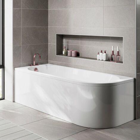 Orbit J-Shaped Shower Bath 1695mm x 745mm - Left Handed