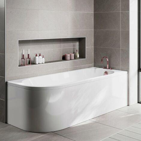 Orbit J-Shaped Shower Bath 1700mm x 750mm - Right Handed