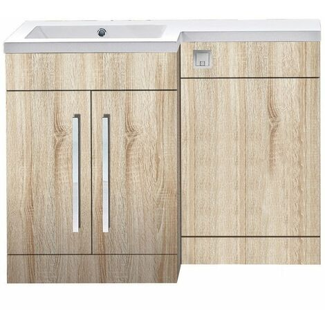 Orbit Life LH Combination Unit with Sculptured Basin 1100mm Wide - Driftwood