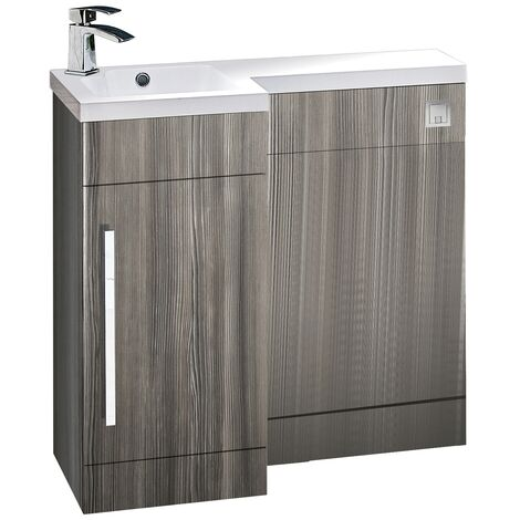 Orbit Life LH Combination Unit with Sculptured Basin 900mm Wide - Gloss Avola Grey