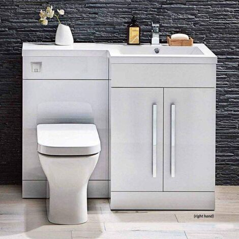 Orbit Lili Bathroom Furniture Pack with Basin and Toilet 1100mm Wide Gloss White - RH