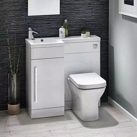 Orbit Lili Bathroom Furniture Pack with Basin and Toilet 900mm Wide Gloss White - LH