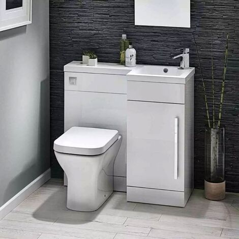 Orbit Lili Bathroom Furniture Pack with Basin and Toilet 900mm Wide Gloss White - RH