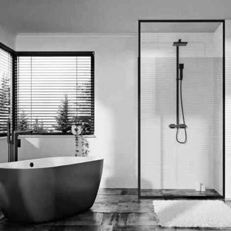Orbit Noire Black Frame Wet Room Glass Panel 800mm Wide - 8mm Glass