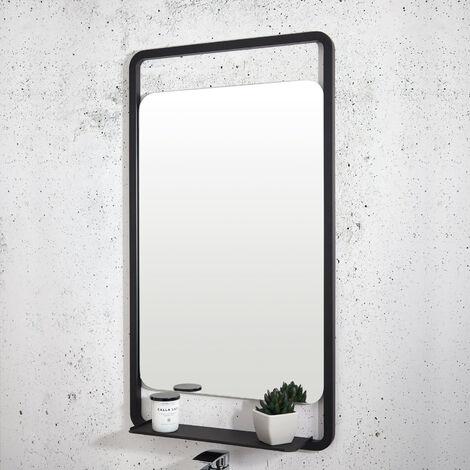 Orbit Noire Soft Square Bathroom Mirror with Shelf 900mm H x 500mm W - Black